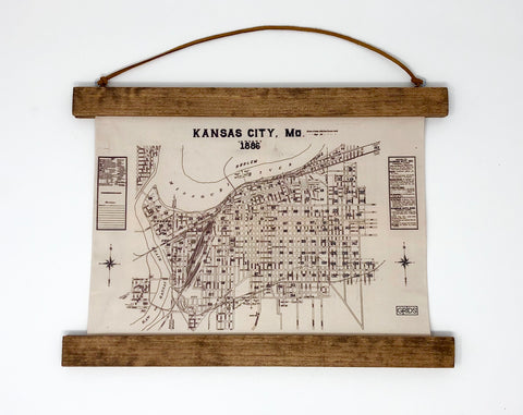 Hanging Framed Canvas Map // Year 1886 // 10.5x12.75 inches