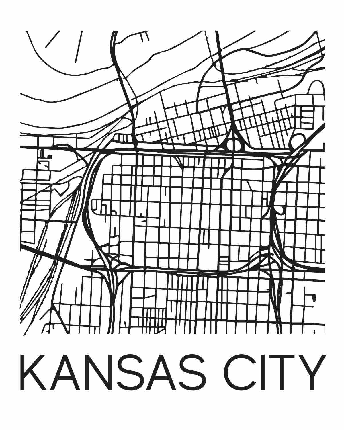 Kansas City Map Art Print // Physical Print