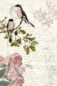 Spring Bird Ephemera Decoupage Paper Sheet