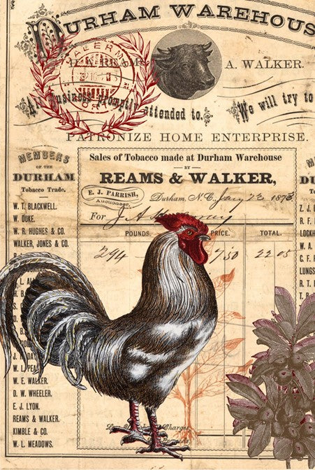Country Rooster Decoupage Paper