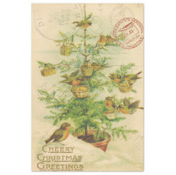 Christmas Birds in Tree Decoupage Paper