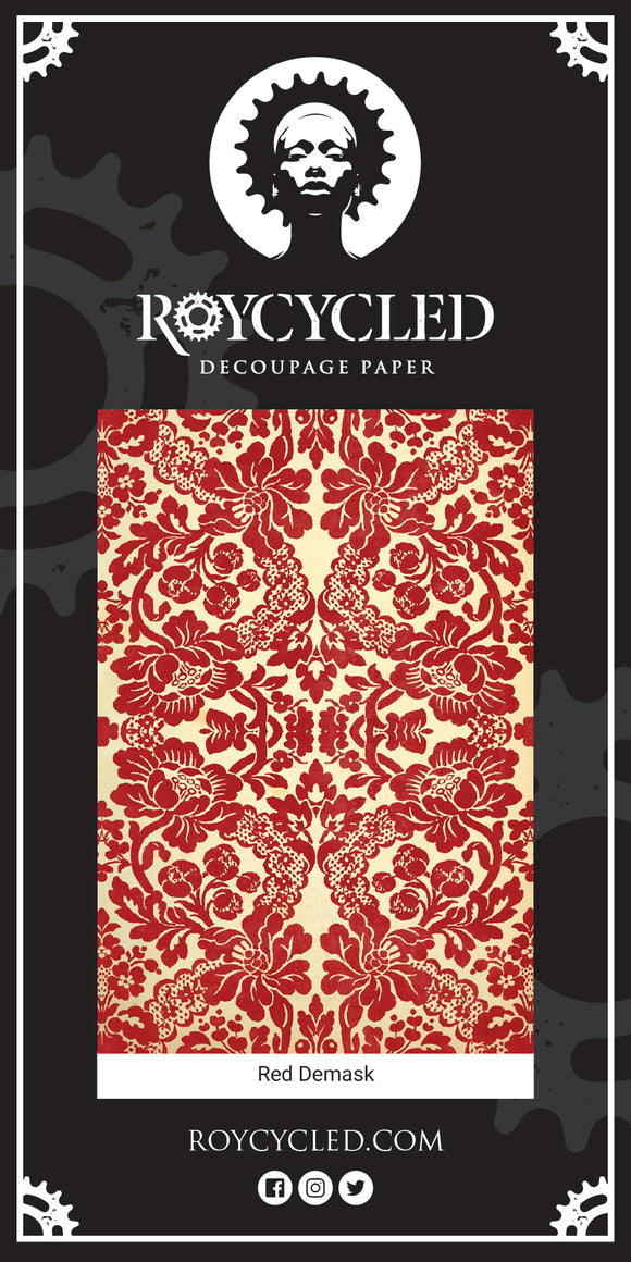 Red Damask Decoupage Paper Sheet
