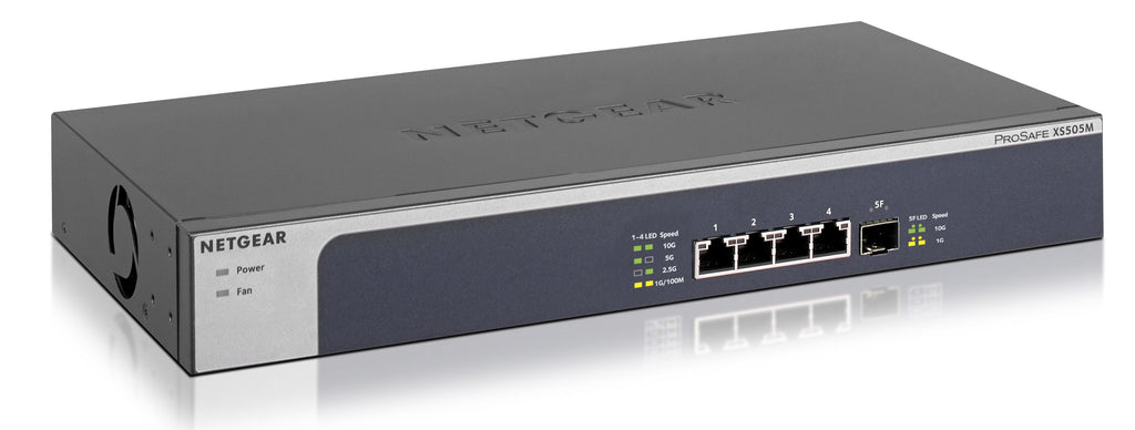 NETGEAR XS505M Switch:4 個 Multi-Gigabit 埠 + 1 個 10Gbps SFP+ 埠