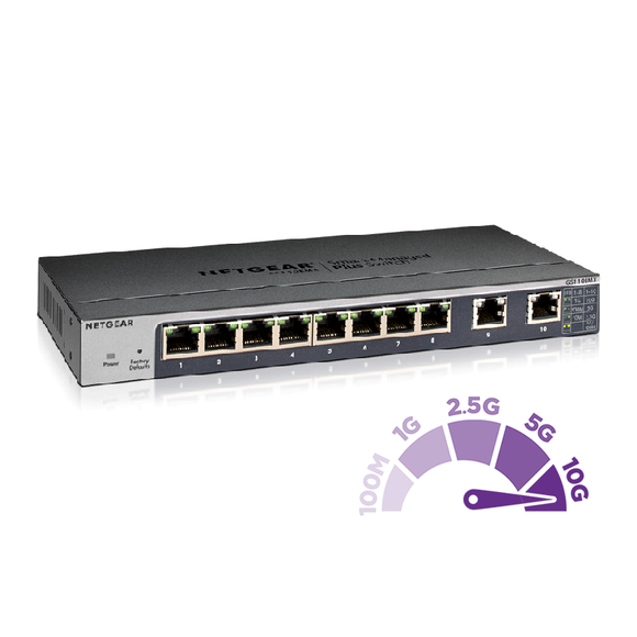 <b>NETGEAR</b> GS110EMX<br> 8x1G + 2x10G網管Multi-Gigabit 交換機