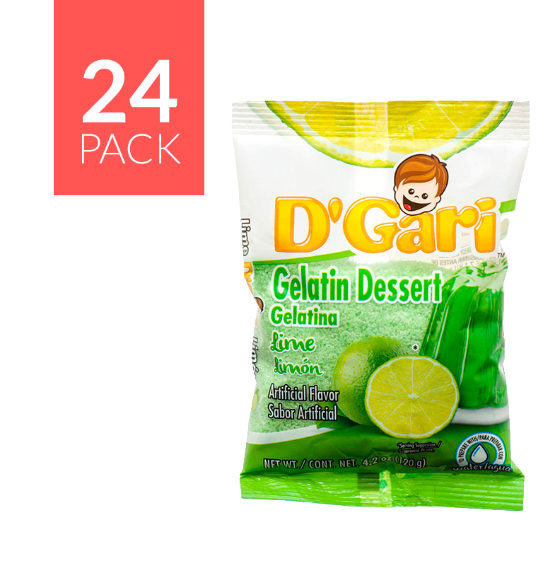 D Gari Gelatin Lime (Limón) 24 pack of 5 oz each