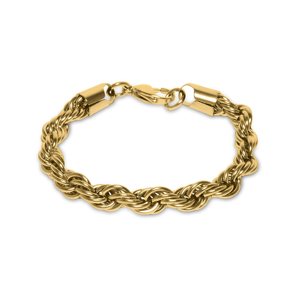 10mm Hip Hop Gold Rope Dookie Bracelet for Men