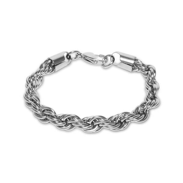 10mm Hip Hop Men's White Gold Rope Bracelet