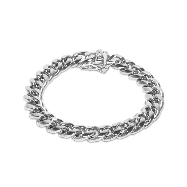 10mm Hip Hop White Gold Miami Cuban Link Men's Bracelet