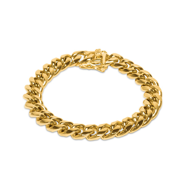 10mm Men's Miami Cuban Link Gold Bracelet