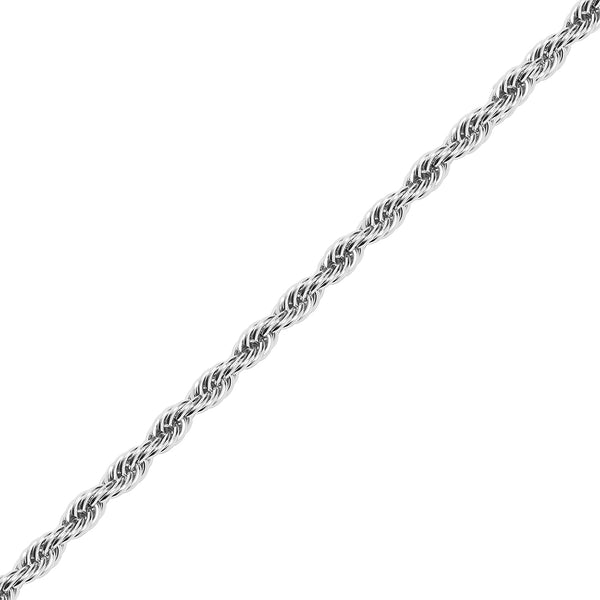 10mm White Gold Rope Dookie Chain for Men