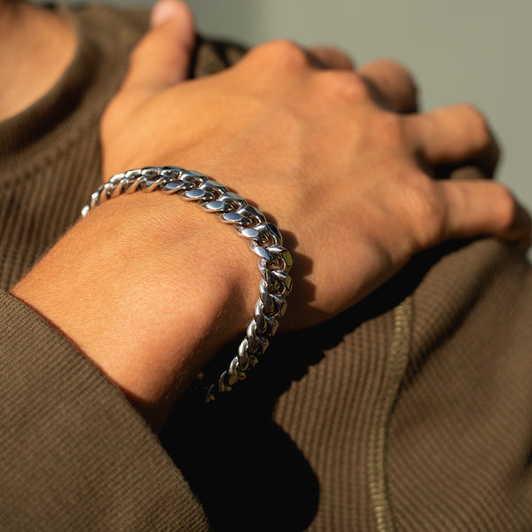 10mm White Gold Miami Cuban Bracelet