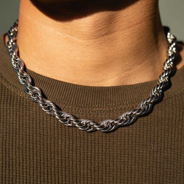 10mm White Gold Rope Chain