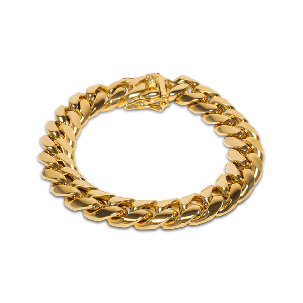 12mm Hip Hop Miami Cuban Link Gold Bracelet