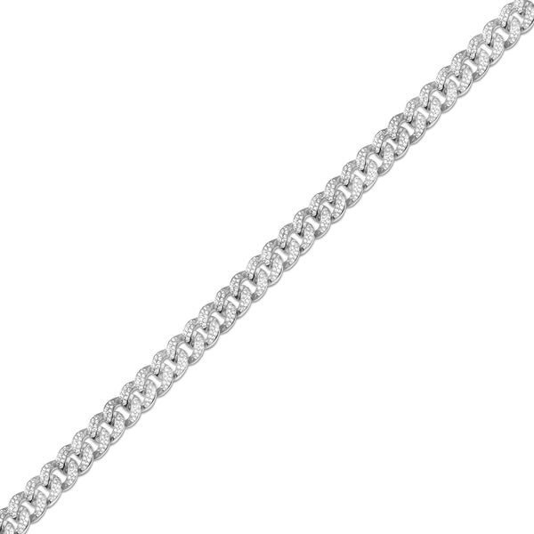 12mm Hip Hop White Gold Cuban Link Diamond CZ Chain