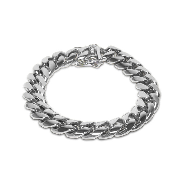 12mm Hip Hop White Gold Miami Cuban Link Men's Bracelet