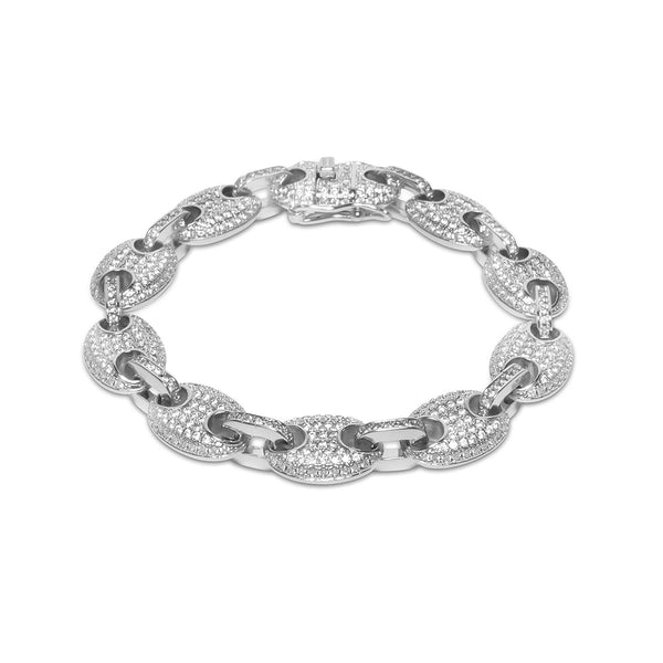 12mm Iced Out White Gold Gucci Link Diamond CZ Men's Bracelet