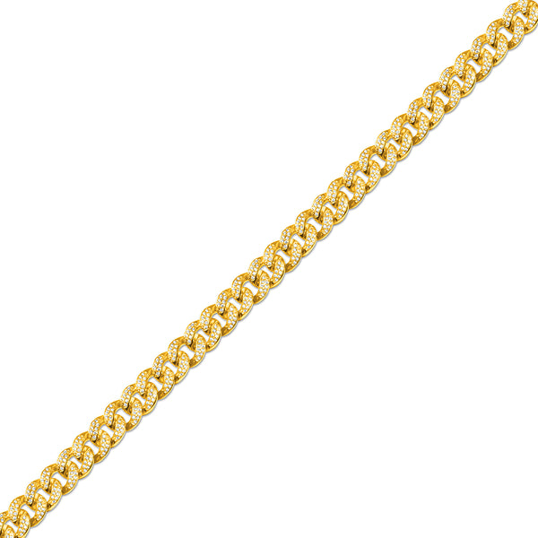 12mm Men's Gold Cuban Link Diamond CZ Chain
