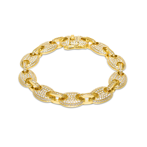 12mm Men's Gold Gucci Link Diamond CZ Bracelet