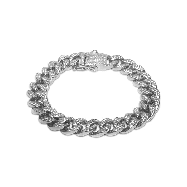 12mm Men's White Gold Cuban Link Diamond CZ Bracelet