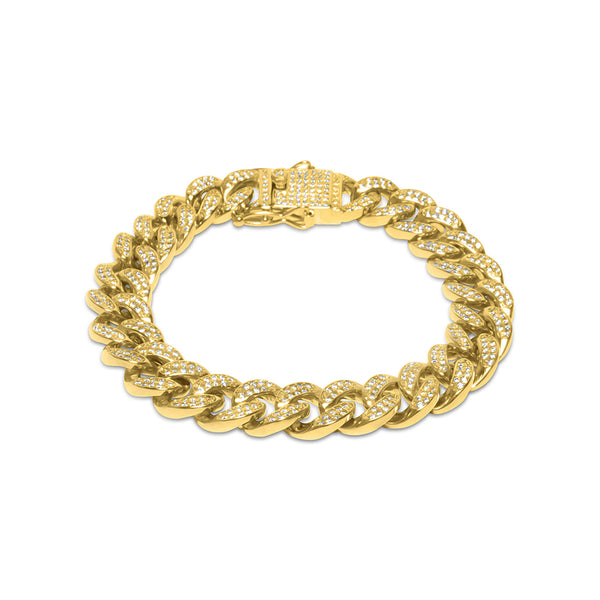 12mm Gold Cuban Link Diamond CZ Bracelet for Men