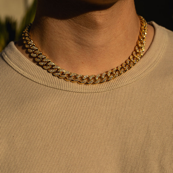 12mm Gold Cuban Diamond CZ Chain