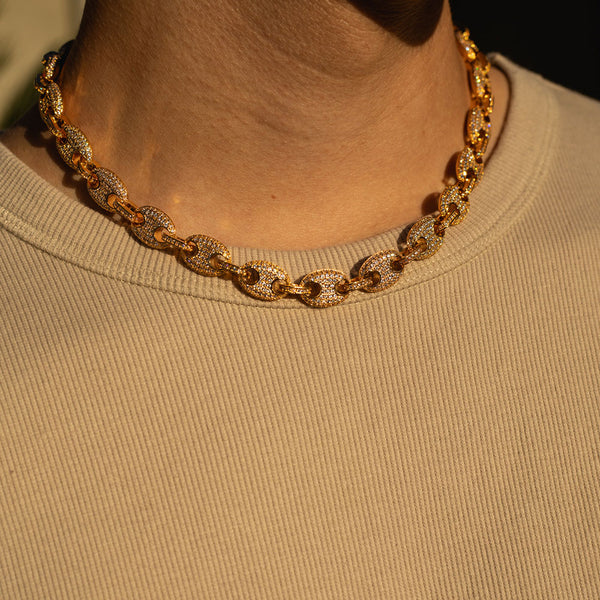 12mm Gold Gucci Diamond CZ Chain