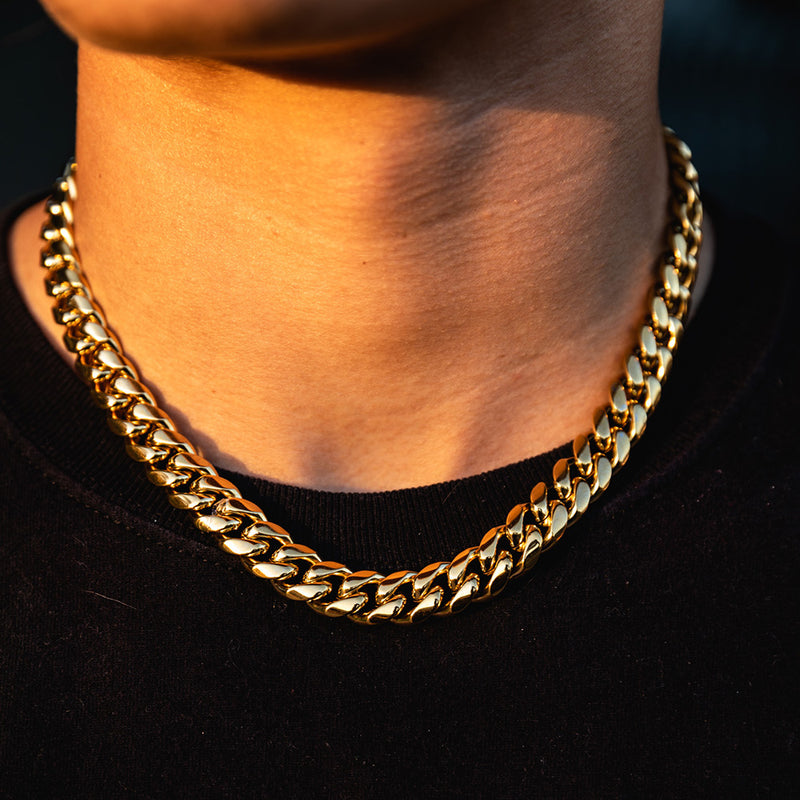 12mm Gold Miami Cuban Chain