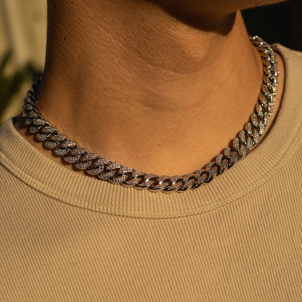 12mm White Gold Cuban Diamond CZ Chain