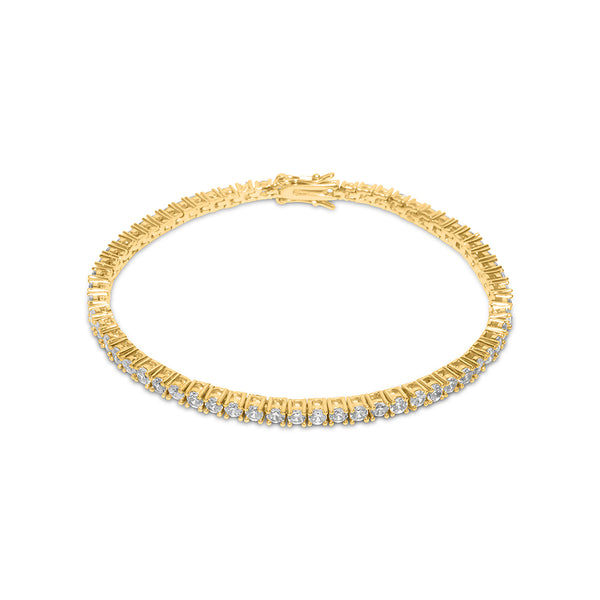 3mm Iced Out Men's Gold Tennis Diamond CZ Bracelet