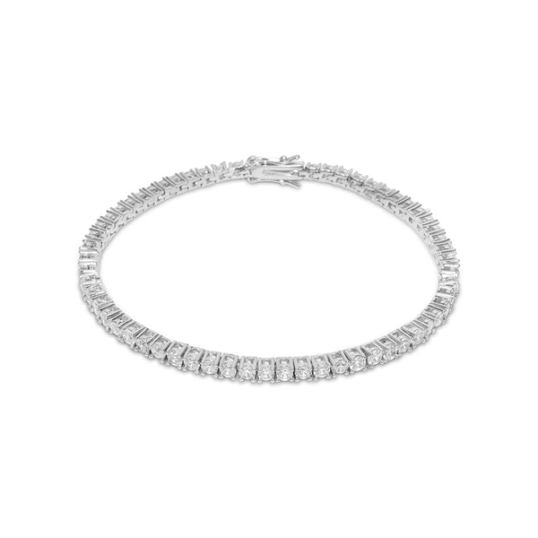 3mm Men's White Gold Tennis Diamond CZ Iced Out Bracelet
