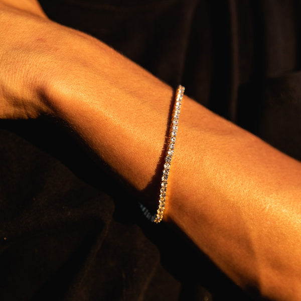 3mm Gold Tennis Diamond CZ Bracelet