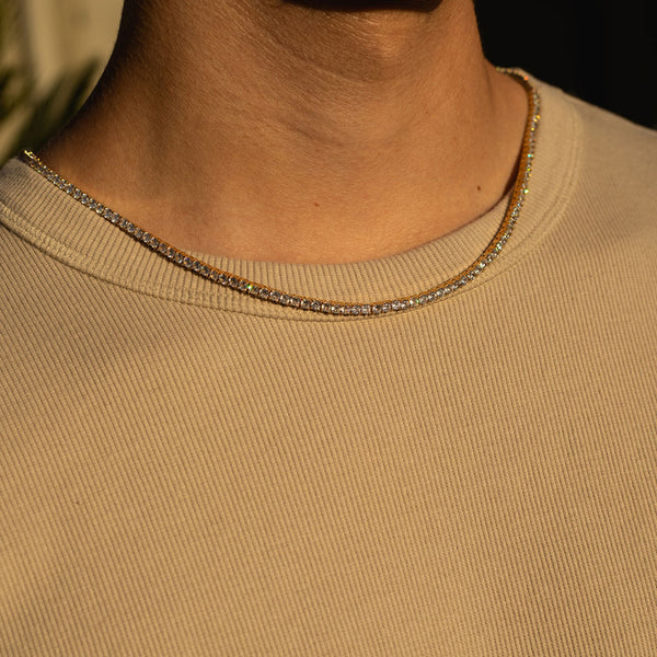 3mm Gold Tennis Diamond CZ Chain