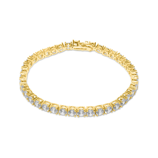 5mm Iced Out Gold Diamond CZ Tennis Bracelet for Men