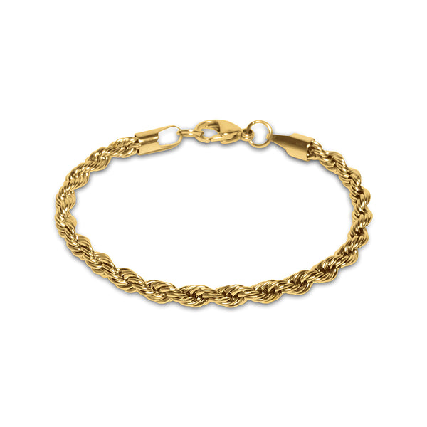 5mm Men's Gold Rope Hip Hop Bracelet