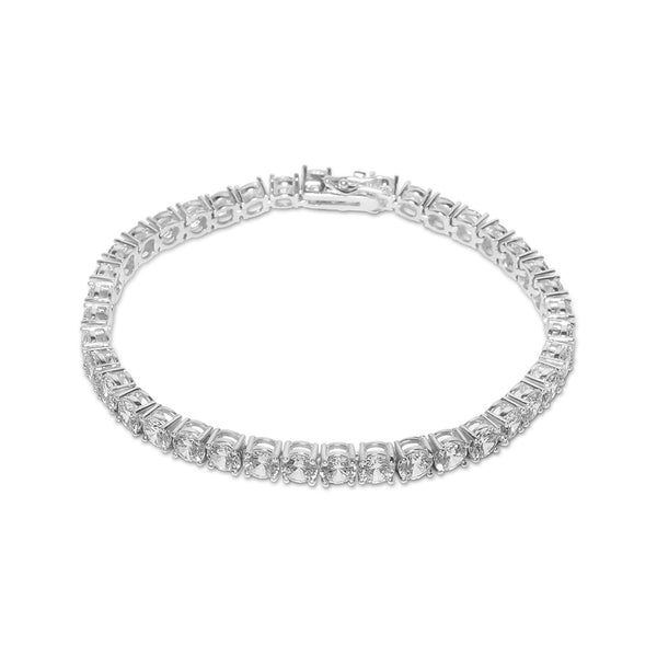 5mm Men's White Gold Diamond CZ Tennis Bracelet