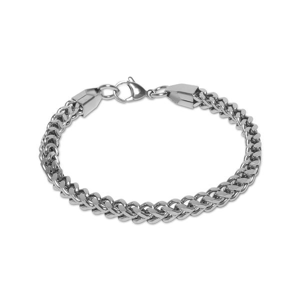 5mm Men's White Gold Franco Bracelet
