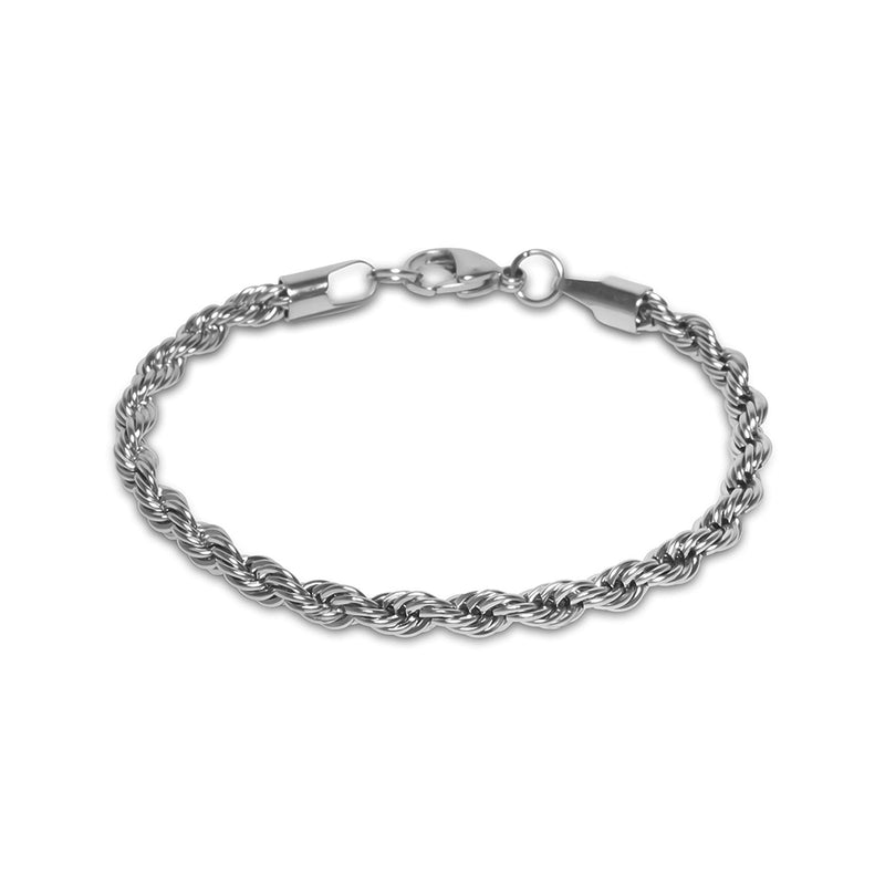 5mm Men's White Gold Hip Hop Rope Bracelet