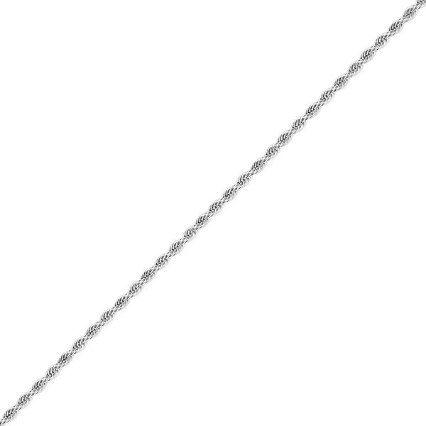 5mm Men's White Gold Rope Chain in Stainless Steel