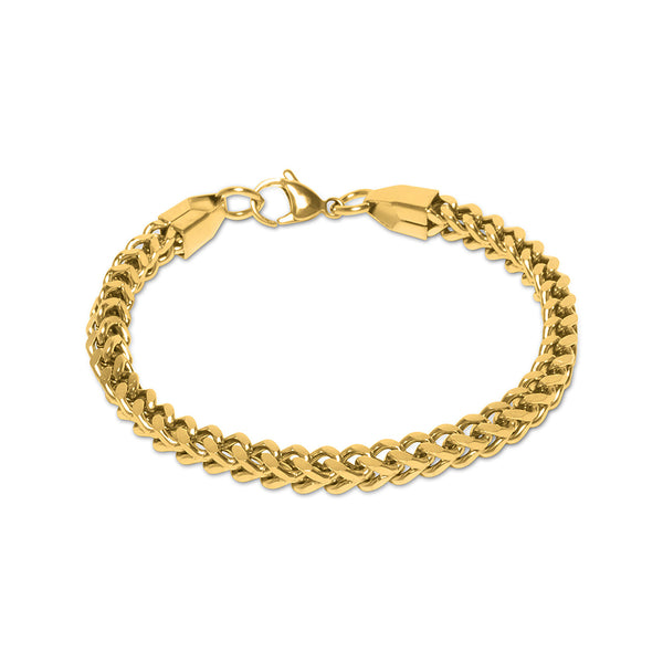 5mm Men's Yellow Gold Franco Hip Hop Bracelet