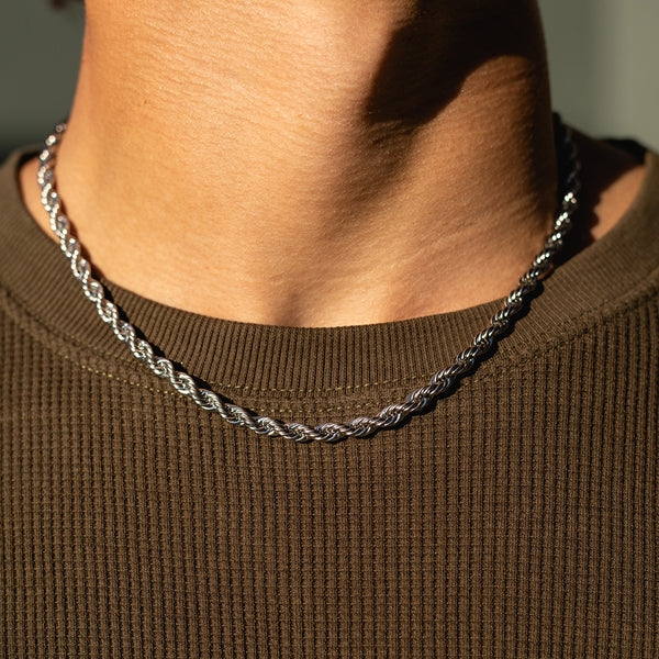 5mm White Gold Rope Chain