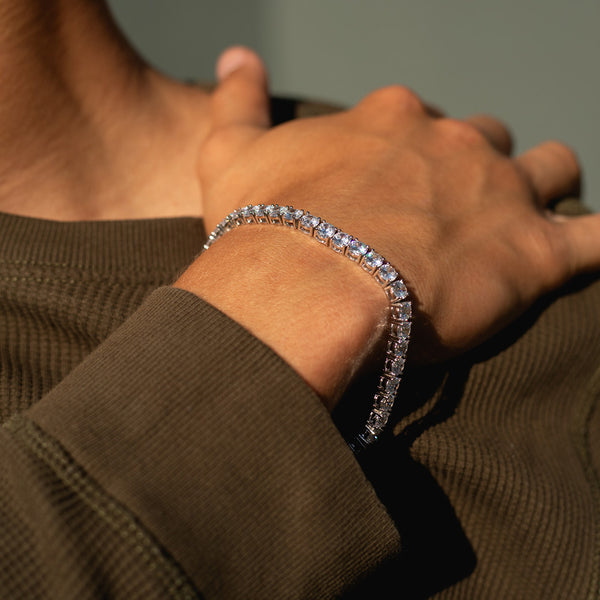 5mm White Gold Tennis Diamond CZ Bracelet