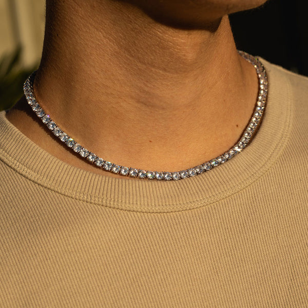 5mm White Gold Tennis Diamond CZ Chain