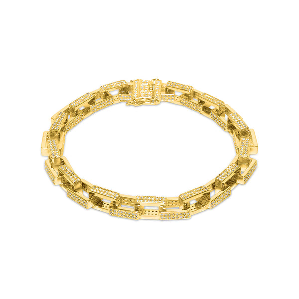 7mm Men's Gold Hermes Link Diamond CZ Bracelet
