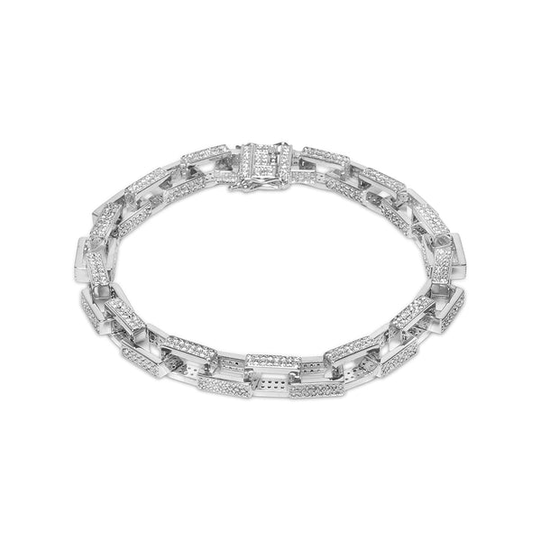 7mm Men's White Gold Hermes Link Iced Out Diamond CZ Bracelet