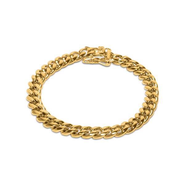 8mm Men's Gold Miami Cuban Link Hop Hop Bracelet