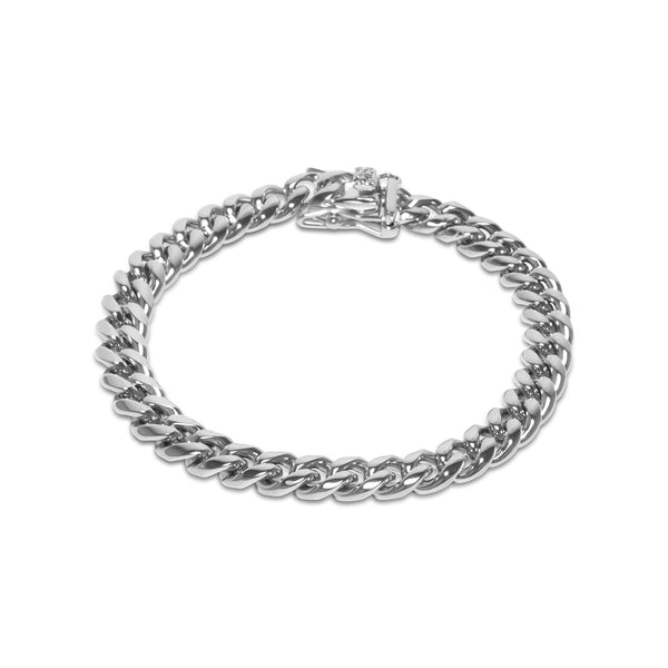 8mm Men's Hip Hop White Gold Miami Cuban Link Bracelet