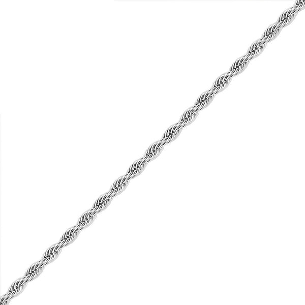 8mm Men's White Gold Rope Hip Hop Chain