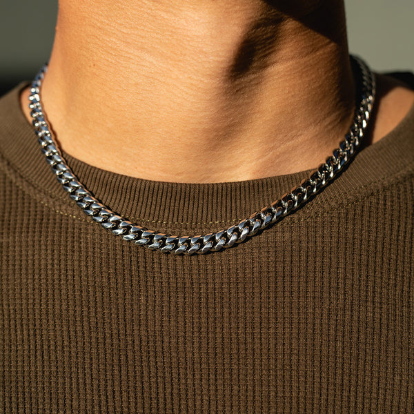 8mm White Gold Miami Cuban Chain