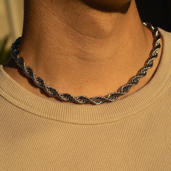 8mm White Gold Rope Chain
