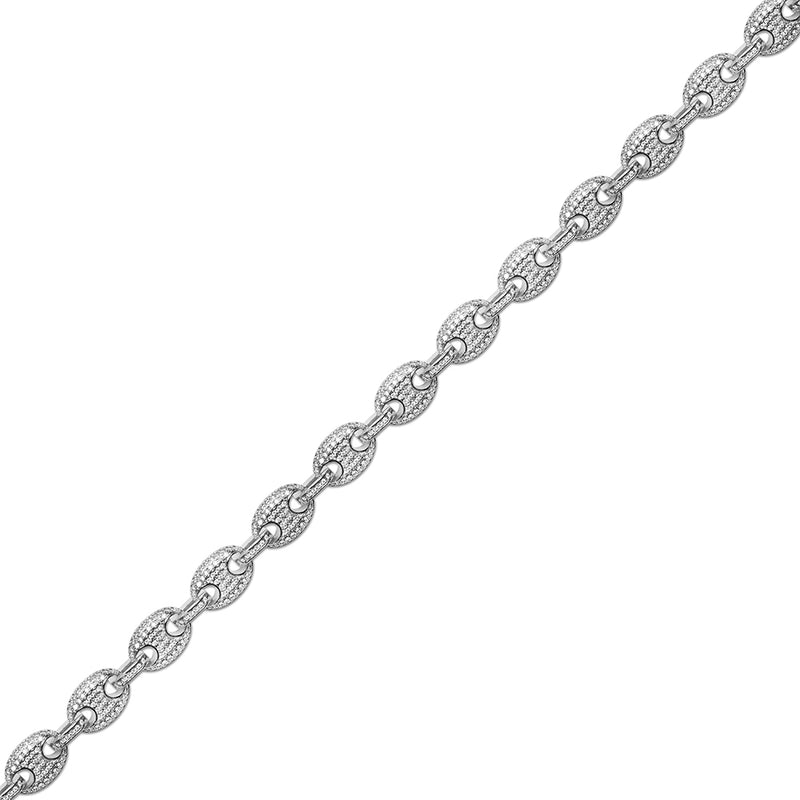 9mm Men's White Gold Gucci Link Diamond CZ Chain